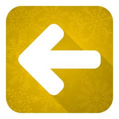 left arrow flat icon, gold christmas button, arrow sign