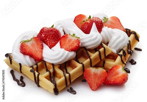 Poster Dessert Belgian waffles