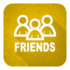 friends flat icon, gold christmas button