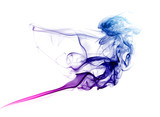 Colorful blue and purple smoke