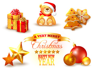 Set of Christmas icons in yellow and red color scheme