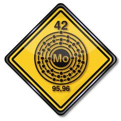 Chemieschild und Chemiezeichen Molybdän