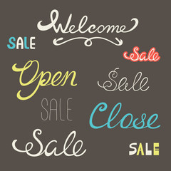 Words welcome sale open close