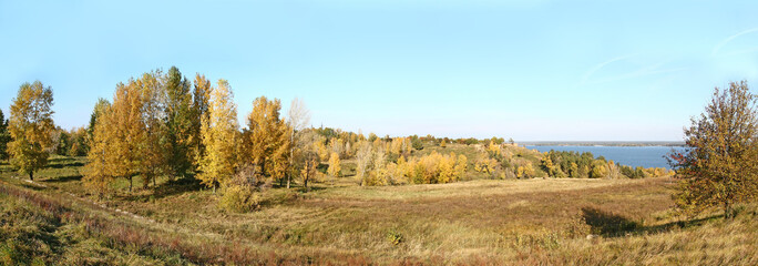 Panorama of autumn meadow at river bank, yellow trees, grass