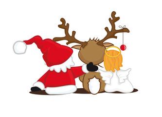 Santa,Engel und Rentier