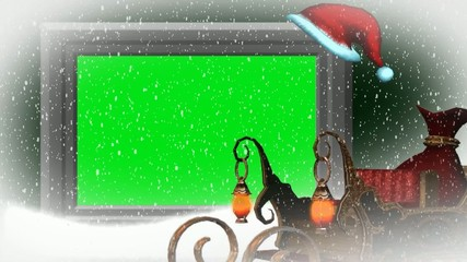 christmas, snowfall, animated santa hat - to green screen