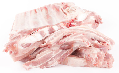 raw pork ribs isolated