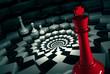 Zdjęcia na płótnie, fototapety, obrazy : red chess king on round chessboard vs white figures