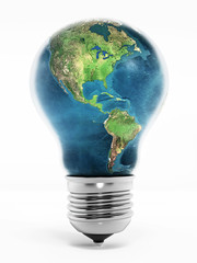 Earth in lightbulb