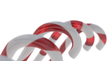 Candy Canes with on White Background, Christmas Decoration