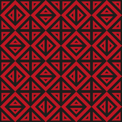 Geometric abstract black and red pattern vector seamless texture