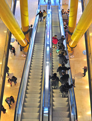 Moving staircase in shopping mall