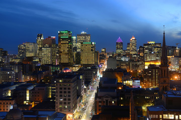 Montreal city skyline at sunset, Montreal, Quebec