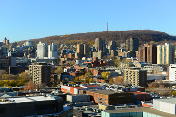 Montreal city skyline with Mont Royal, Quebec