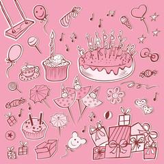 set pink birthday party