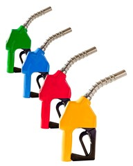 Four Colored Gasoline Fuel Pump Nozzles