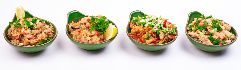 set of four different fried rice