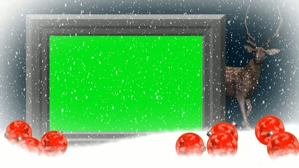christmas with animated reindeer - green screen