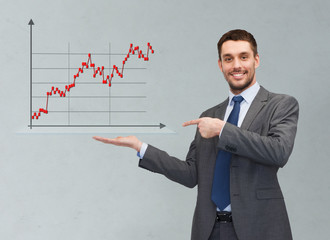 happy man showing forex chart on palm of his hand