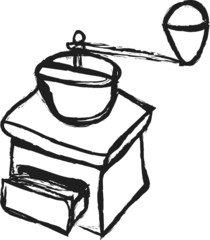 cartoon coffee mill on white background