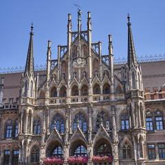 detail of the town hall, Munich, Bavaria Germany