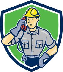 Telephone Repairman Phone Shield Cartoon