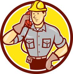 Telephone Repairman Phone Circle Cartoon