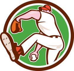 Baseball Pitcher Outfielder Throw Ball Circle Cartoon