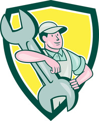 Mechanic Carry Spanner Wrench Shield Cartoon