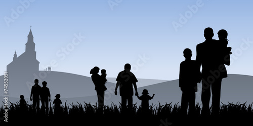 young people with children going to church vector illustration - 74552051