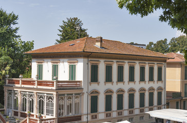 Lucca cityscape with old mansion, Italy