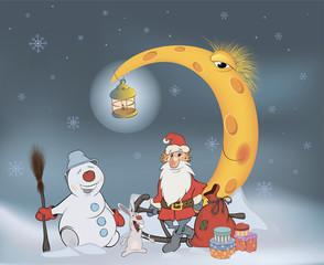 Santa Claus his friends and Christmas gifts. Cartoon