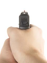 Holding a .45 ACP handgun