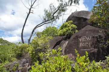 Viewpoint written in the Seychelles in the rock