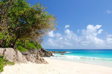 White beach by the sea on Seychelles