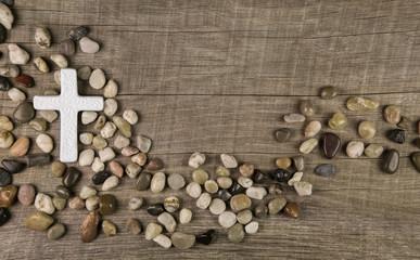 Trauerkarte mit Kreuz und Steine: Kondolenz Karte Tod