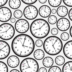 time zones black and white clock seamless pattern eps10