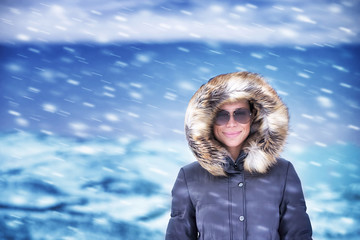Happy woman on winter vacation