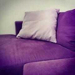 Purple velvet sofa with cushions