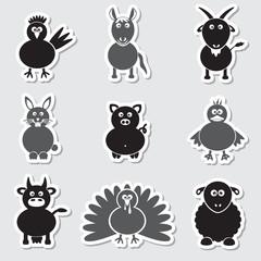 farm animals simple stickers set eps10