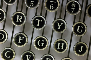 Letters from above on an old typewriter
