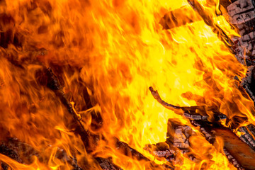 Burning wood pallets in flames