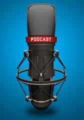 Microfono con scritta podcast