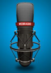 Microfono con scritta webradio