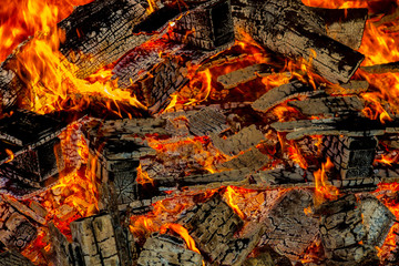 Embers from wood pallets