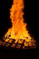 Burning of wood pallets