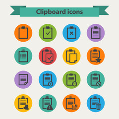 Black Clipboard icons set in flat style
