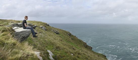 Coastal Grass Hill at Tintagel Castle, Cornwall, UK