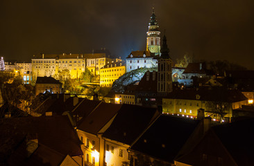 Cesky Krumlov Castle night view