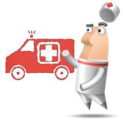 Polygone - Fond Blanc - Ambulancier